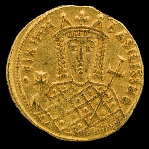 Image of coin with figure wearing crown