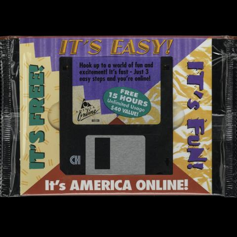 Photograph of an America Online installation disk, 1990s
