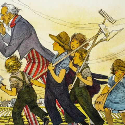 """Uncle Sam, playing a pipe, leads a group of children armed with farming tools. Text reads: """"Follow the Pied Piper. Join the United States School Garden Army"""""""