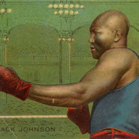 A playing card on which a man wearing boxing clubs in a fighting stance stands against a green background made to look like a large hall with many seated people