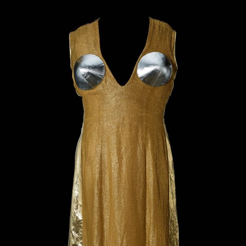 Gold shiny dress with v-neck, silver circles in chest area, and flowy skirt.