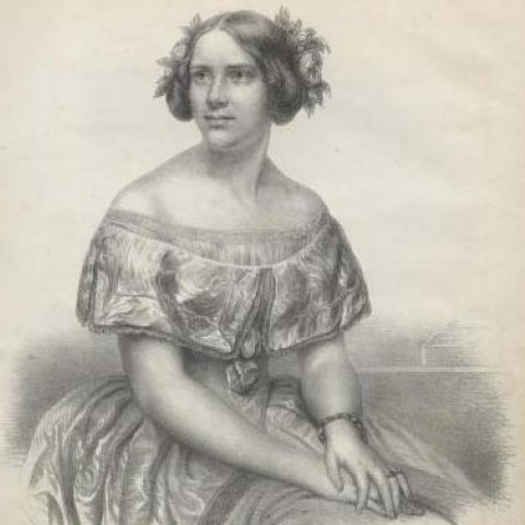 Black and white illustration of woman with her hair in an up-do with flowers. Dress is off-the-shoulder style, short sleeved. Her hands are place peacefully one and top of the other.