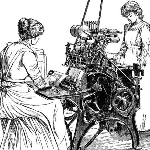 Black and white illustration of woman and girl using machine