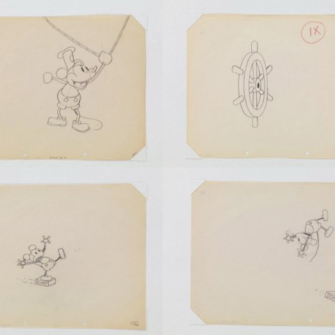 Production drawings from Steamboat Willie show Mickey Mouse pulling on a string, tumbling on a bar of soap, and a wheel