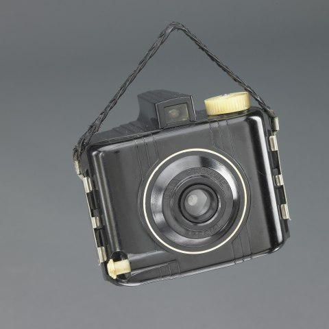 Gray camera with strap