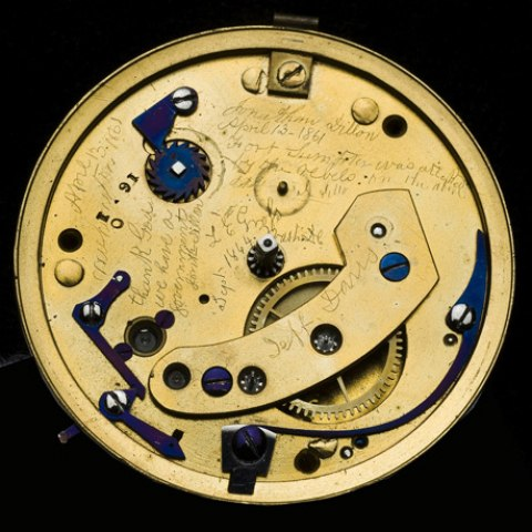 "Inside of Abraham Lincoln's watches reveals both its inner workings and engravings, including """"April 13, 1861 Fort Sumpter was attacked by the rebels on the above date J Dillon April 13, 1861 Washington"" and ""thank God we have a government Jonth Dillon."""