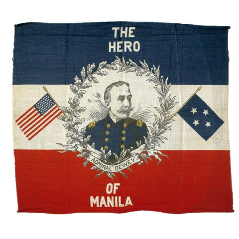 Blue, white, and red banner with an image of Admiral Dewey in center of white stripe, surrounded by laurels.