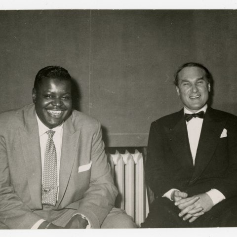 Oscar Peterson and Norman Granz seated together