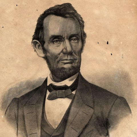 Black and white illustration of Abraham Lincoln (bust)
