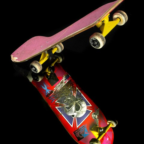 This wood laminate skateboard displays Tony Hawk's Birdhouse logo graphic designed by Vernon Cortlandt Johnson and was used by Tony Hawk in competitions during the mid-1980s.