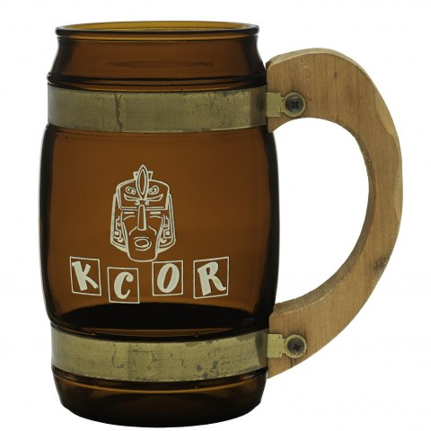 Beer bug with a chubby middle and large handle. It is brown/tan in color. In white, an Aztec head illustration/cartoon and block letters K C O R.
