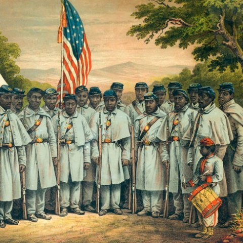An illustration of Civil War-era African American troops in the U.S. military posing with the U.S. flag in the background