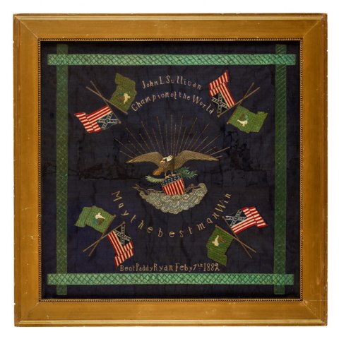 "Square banner for boxer John L. Sullivan showing flags and the phrases ""Champion of the world…May the best man win"""