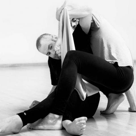 Black and white photo of two dancers, barefoot, wearing black pants. Feet, limbs intertwine.