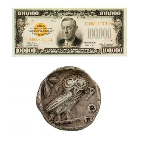 One piece of paper money with a portrait of President Wilson and one coin with an image of an owl