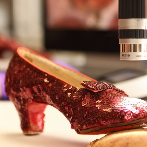 One of the Ruby Slippers, with a small heel and a beaded bow, covered in sequins, sits under a microscope.