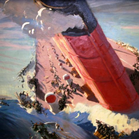 Painting in vivid colors depicting Lusitania half-sunk, smoke billowing