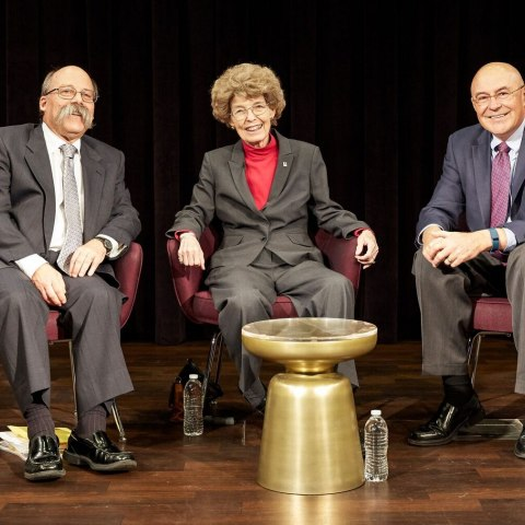 """During the """"Innovative Lives"""" event, curator Peter Liebhold (left) interviewed scientists Mary-Dell Chilton (center) and Robert Fraley (right)."""