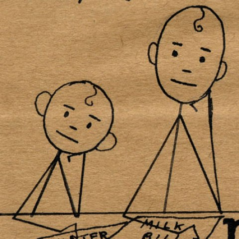 Detail of card showing two stick figures. They sit at a table with serious-yet-not-unhappy expressions. Each rests his head on his hand.