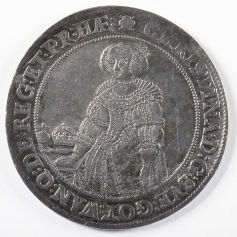 Silver coin with Queen Cristina of Sweden