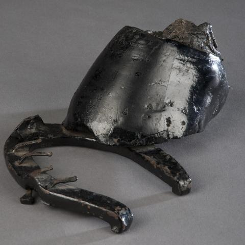 Horse hoof cauterized and preserved with a coat of shiny black enamel