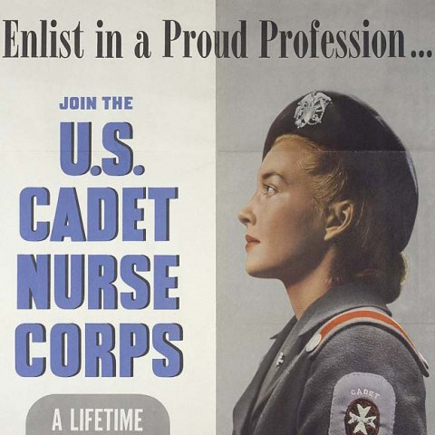 Poster with image of young woman in military uniform