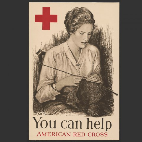"""Poster with """"You can help"""" and """"American Red Cross."""" Imagine in pencil line drawing of a woman knitting. She sits in a chair, looking at her work."""