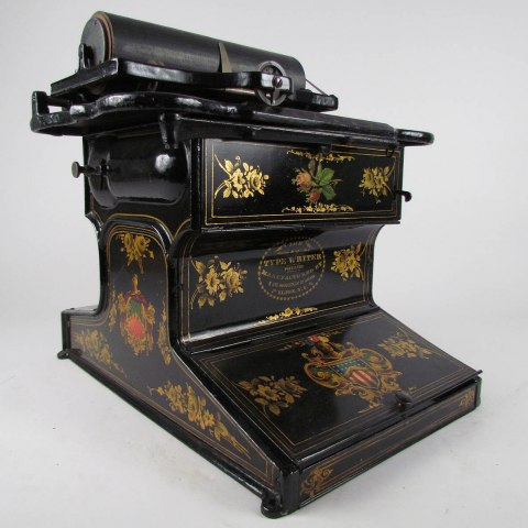 1870s Remington typewriter, black with detailed flowers and patriotic emblems painted on it
