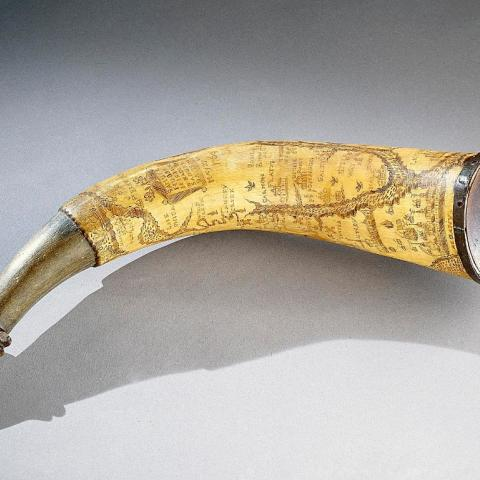 Powder horn from the colonial era etched with map of New York