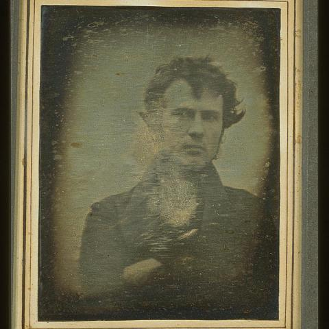 An early self-portrait of inventor and businessman Robert Cornelius, taken in 1839. Image courtesy of the Library of Congress.