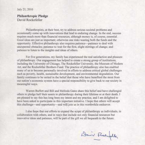 """A single-page, typed letter dated July 21, 2010 from David Rockefeller. It begins: """"Philanthropists, at their best, try to address serious societal problems and occasionally come up with innovations that lead to enduring change. In the end, success requires much more than financial resources, although money is, of course, essential."""" It continues fora total of four paragraphs."""