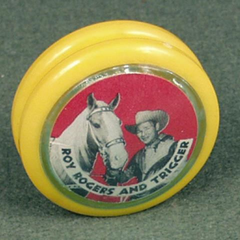 Roy Rogers and Trigger yo-yo, yellow and red