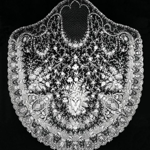 Lace veil on black background