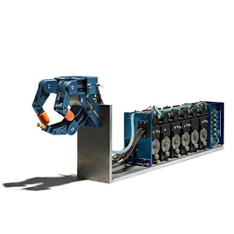 A blue robotic arm