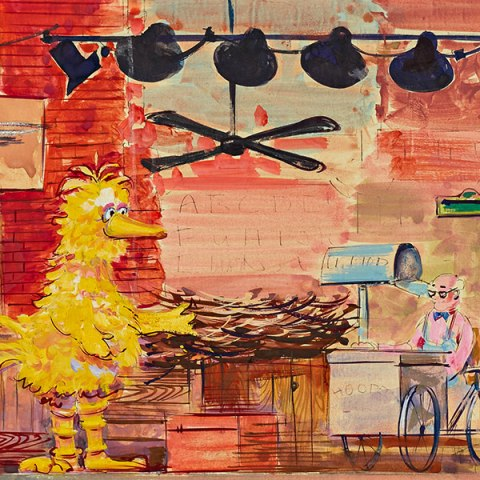 "Sketch of the set for the National Museum of History and Technology exhibit ""Ten Years of Sesame Street"" (1979) painted by Alan Compton, Sesame Street set designer"