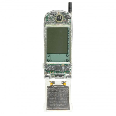 Image of what looks like a cell phone with one of its panels removed so that insides are visible.