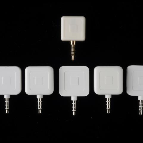 Six different Square readers, white