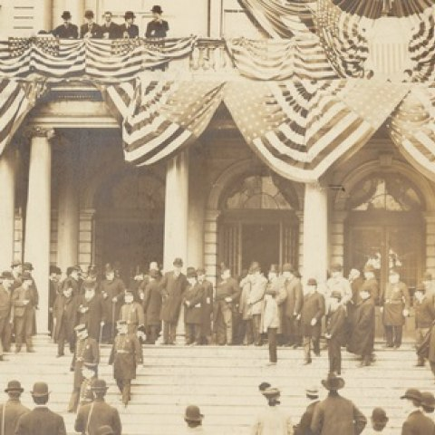 Photograph of the opening of the New York City subway system. Courtesy of the New York Public Library.