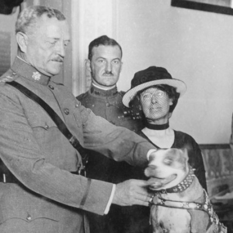 Black and white photo of four people (three men in military uniforms) standing with a dog that wears a harness.
