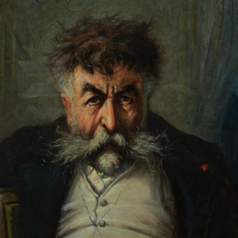 A portrait of a man sitting behind a curtain drawn partially back to show a church spire. His hair and moustache are unkempt and he looks directly at the viewer, his head seeming to hang low.
