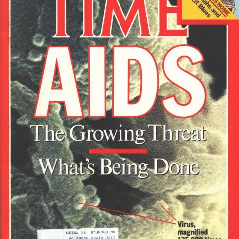 "Time magazine cover with text: ""AIDS The Growing Threat / What's Being Done"""