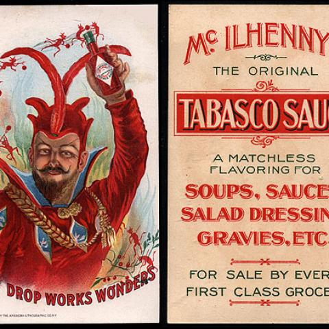 Victorian trade card advertising Tabasco sauce, 1900