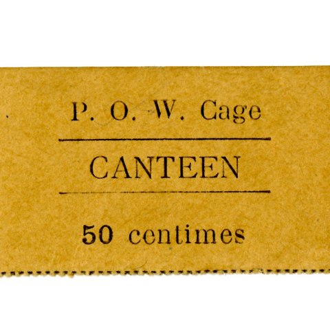 A goldenrod-colored paper with perforated edges that says it is 50 cents for a POW canteen