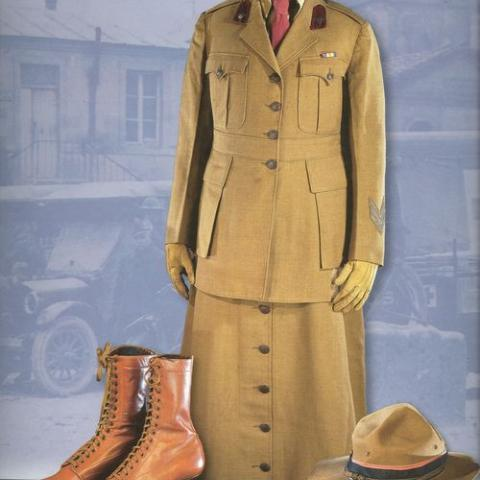 Khaki uniform, shoes, and hat