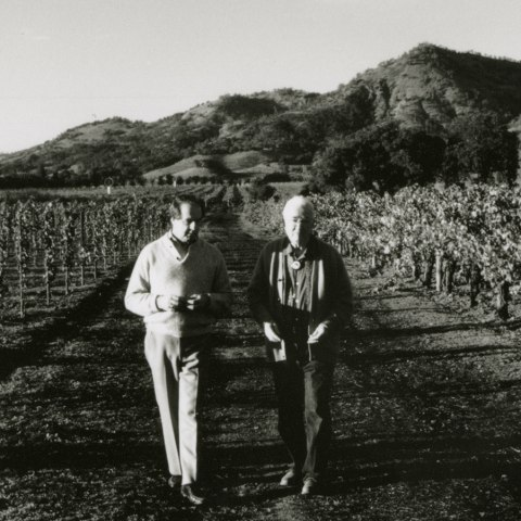 Black and white photo: Two men in wine field with mountains in background.