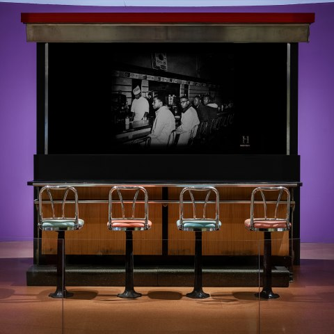 Photograph of lunch counter with four chairs