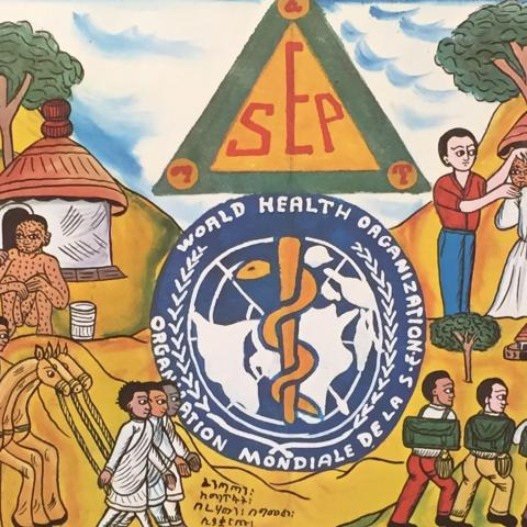 Colorful poster with cartoon-like people traveling to be vaccinated in comic-like scenes. WHO logo in center.