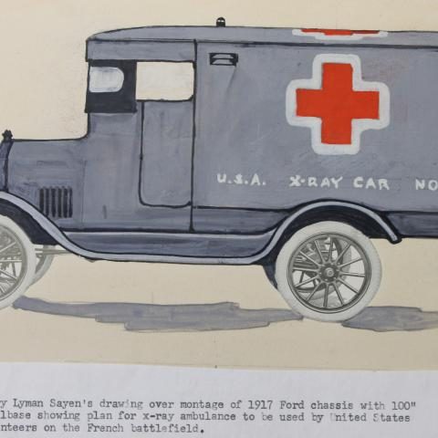 """Illustration of an ambulance-style van with a red cross and text: """"U.S.A. X-Ray Car No. 4"""""""