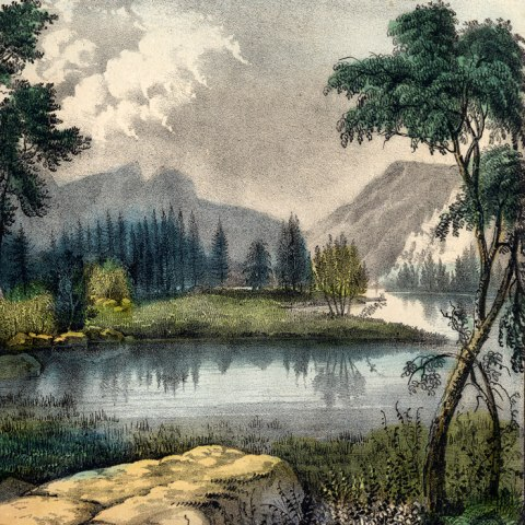 (Detail) Image of a nature scene with mountains in the background, rocks and a stream in foreground, and trees. Misty, cloud, but slightly sunny.