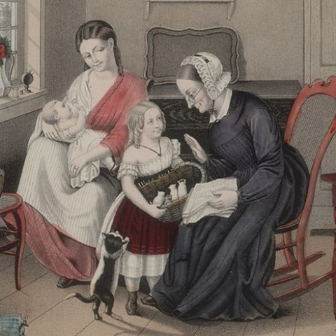 An old woman, a young woman, a girl and a baby sitting in the living room of an 1860s home